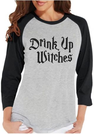 Halloween Drink Up Witches Baseball T-Shirt