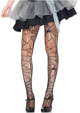 Halloween Solid Spider Web Shape Hollow Out Pantyhose