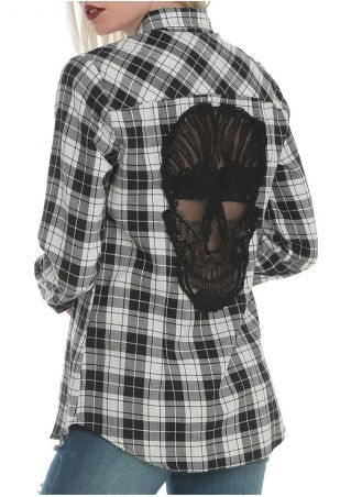 Plaid Pocket Skull Splicing Shirt