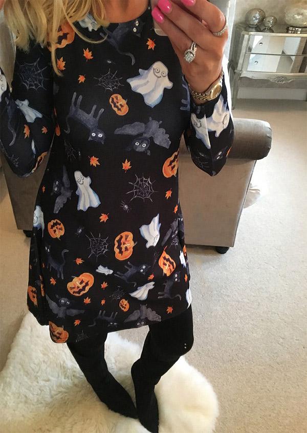 Halloween Pumpkin Elf Printed Mini Dress
