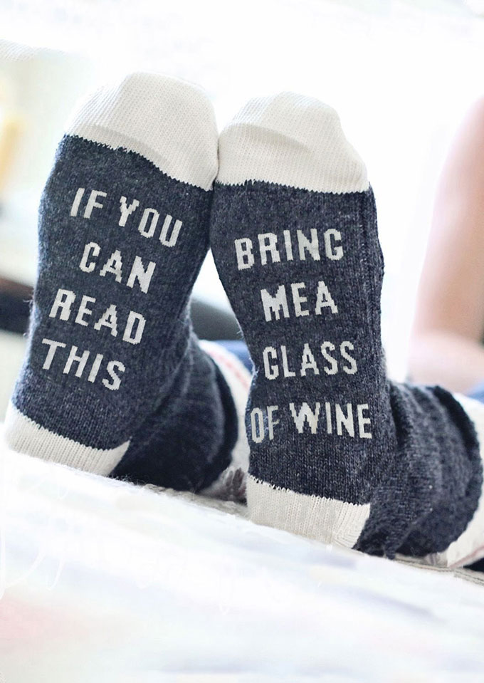 If Can Read This Bring Me A Class Of Wine Socks in Deep Blue,Light Grey,Dark Grey. Size: One Size