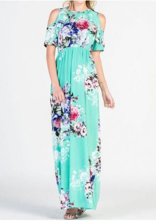 Floral Flouncing Cold Shoulder Maxi Dress