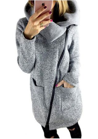 Solid Zipper Pocket Long Sleeve Coat