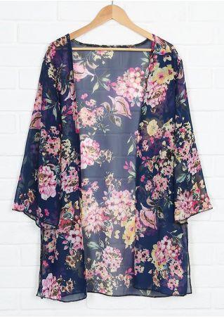 Floral Slit Flare Sleeve Cardigan