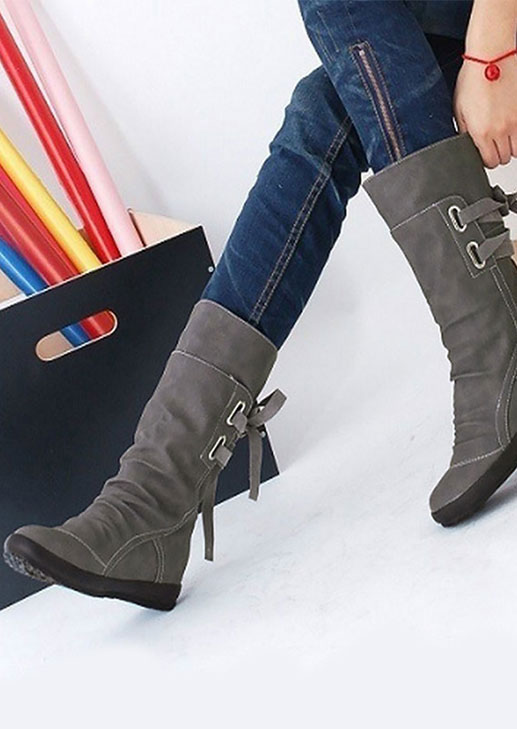 Solid Lace Up Increased Internal Boots фото