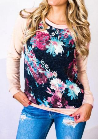 Floral O-Neck Long Sleeve Baseball T-Shirt