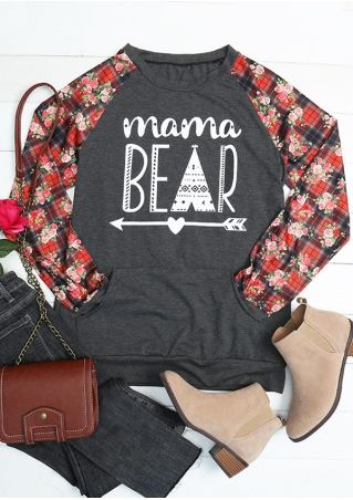 Floral Splicing Mama Bear Arrow Sweatshirt