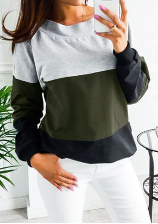 Color Block Back Tie Sweatshirt without Necklace