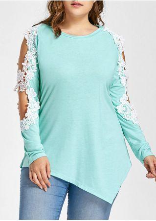 Plus Size Lace Floral Cold Shoulder Blouse