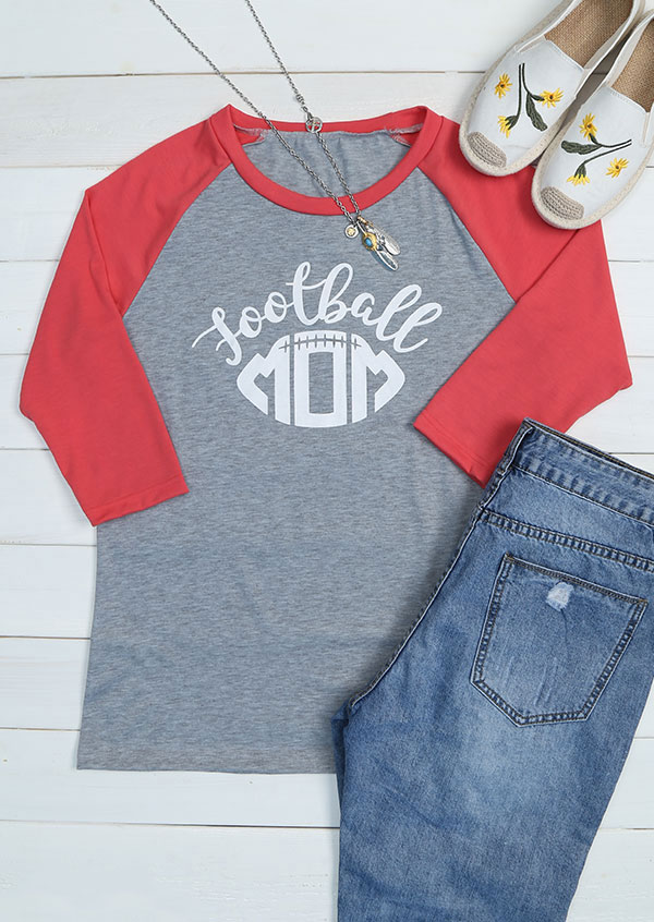d4284d135 Football Mom O-Neck Baseball T-Shirt - Fairyseason