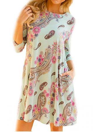 Floral Pocket O-Neck Mini Dress