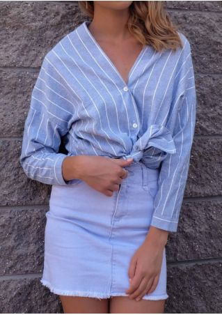 Striped Button V-Neck Long Sleeve Shirt