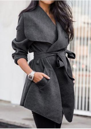 Solid Pocket Turn-Down Collar Coat with Belt