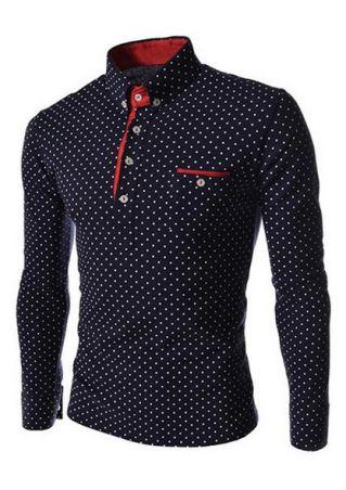 Dot Printed Long Sleeve Polo Shirt