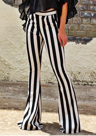 Striped Elastic Waist Pocket Flare Pants