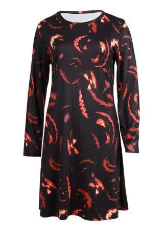 Halloween Grimace O-Neck Mini Dress