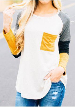 Color Block Pocket Baseball T-Shirt