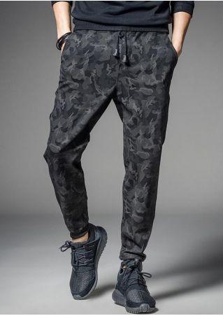 Camouflage Printed Drawstring Elastic Waist Pants