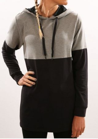 Color Block Drawstring Long Sleeve Hoodie