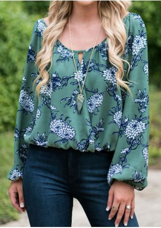 Floral Hollow Out Blouse without Necklace