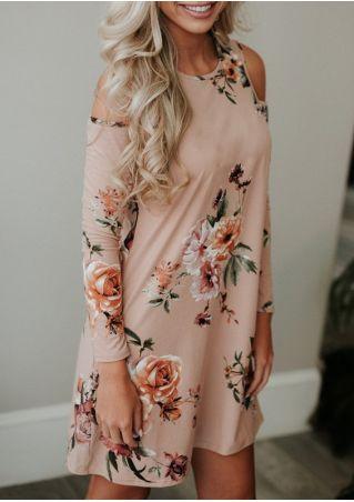 Floral Cold Shouder Long Sleeve Mini Dress
