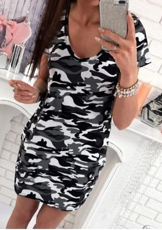 Camouflage Printed V-Neck Mini Dress