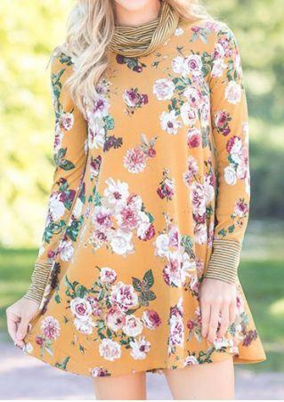 Floral Striped Splicing Mini Dress