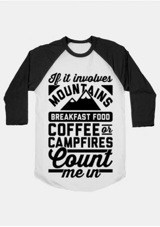 Plus Size Mountains Coffee O-Neck Baseball T-Shirt
