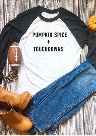 Halloween Pumpkin Splice + Touchdowns Baseball T-Shirt