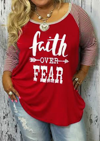 Plus Size Faith Over Fear Baseball T Shirt Without