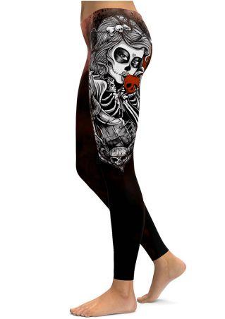 Halloween Skull Elastic Waist Skinny Leggings