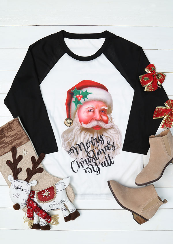 plus size merry christmas yall santa face baseball t shirt zoom