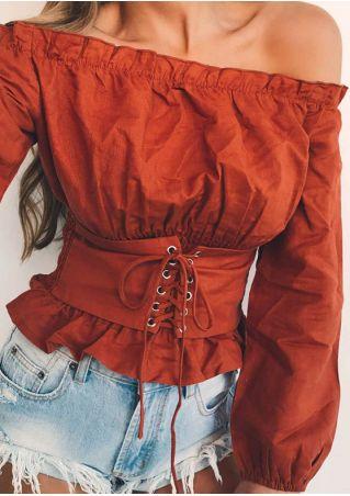 Solid Lace Up Off Shoulder Blouse