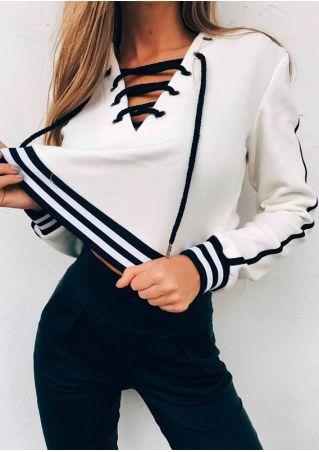 Striped Detail Lace Up Sweatshirt