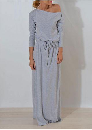 Solid One Shoulder Maxi Dress