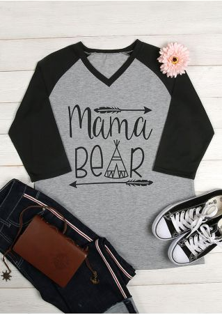 Mama Bear V-Neck Baseball T-Shirt