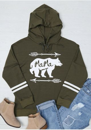 Mama Bear Arrow Striped Detail Hoodie
