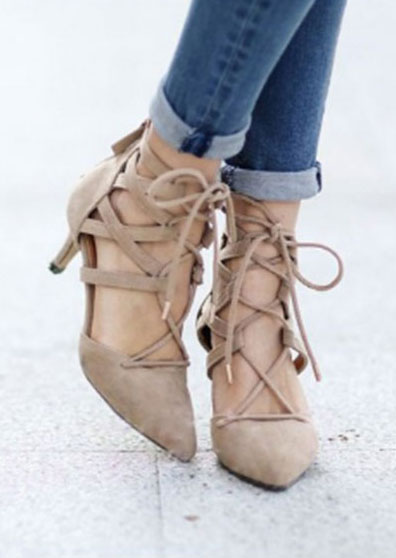 Solid Lace Up Zipper Heeled Sandals in Black,Khaki. Size: 36,37,38,39,40,42