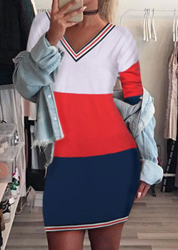 Image of Color Block V-Neck Bodycon Dress without Necklace