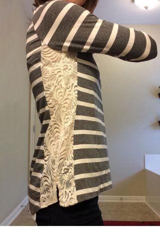Striped Lace Splicing O-Neck T-Shirt
