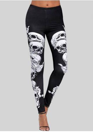 Skull Floral Skinny Leggings