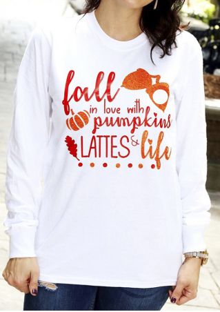 Halloween Fall In Love With Pumpkins Lattes & Life T-Shirt