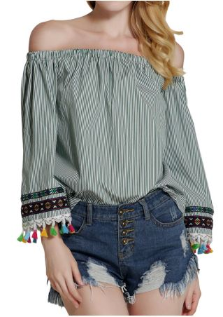 Striped Tassel Splicing Off Shoulder Blouse