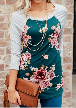 Floral Splicing Baseball T-Shirt without Necklace