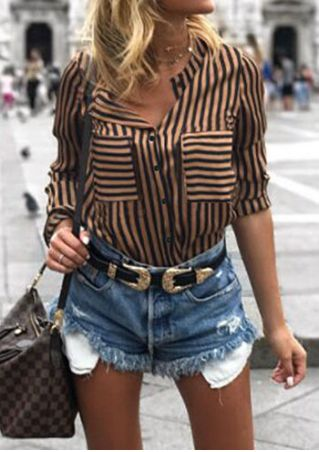 Striped Pocket Shirt without Necklace
