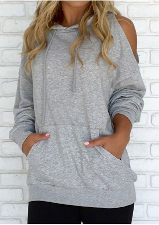 Solid Drawstring Cold Shoulder Hoodie