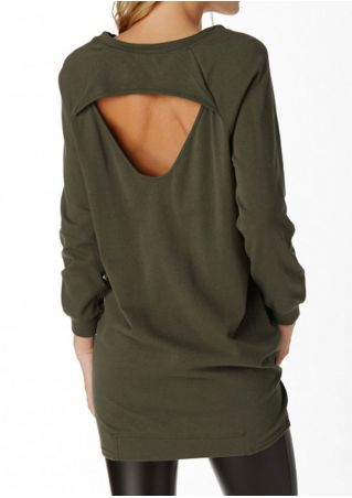 Solid Hollow Out Pocket O-Neck Blouse