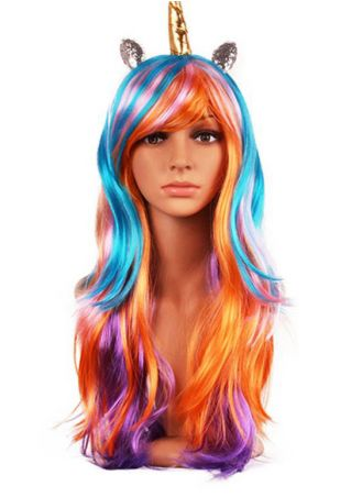Halloween Unicorn Horn Colorful Cosplay Hair Wig