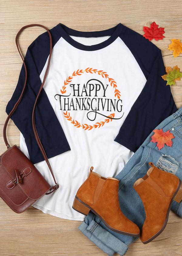 a676ddd6 Plus Size Happy Thanksgiving O-Neck Baseball T-Shirt - Fairyseason