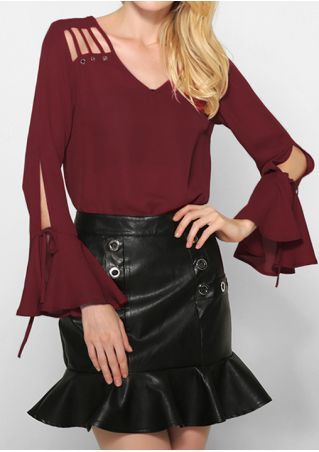 Solid Hollow Out Tie Long Sleeve Blouse